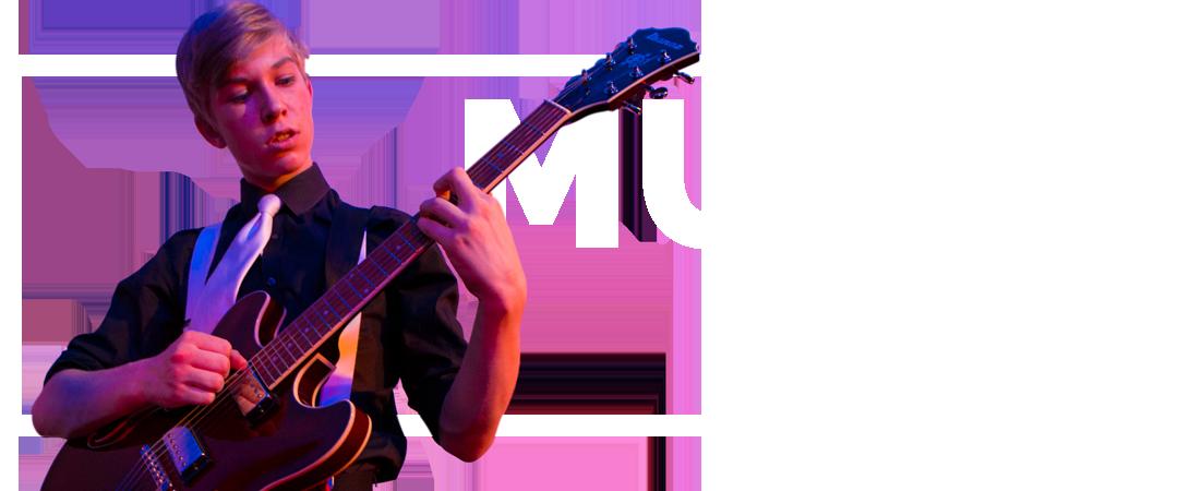 Dreng spiller på elektrisk guitar